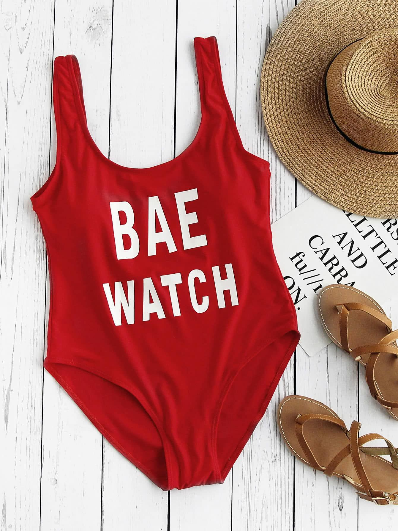 Letter Print Scoop Neck One Piece Swimsuit One Piece Swimsuits Printed Bikini Sets