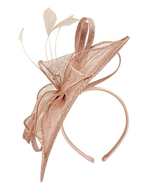 Fascinator Netting Feather and Rose with diamantee Comes on a covered Headband