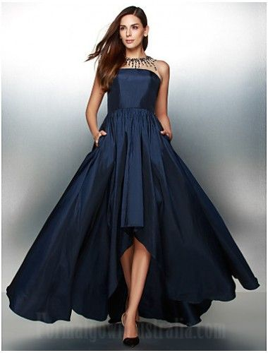 2018 Australia Formal Evening Dress Ink Blue A Line Jewel