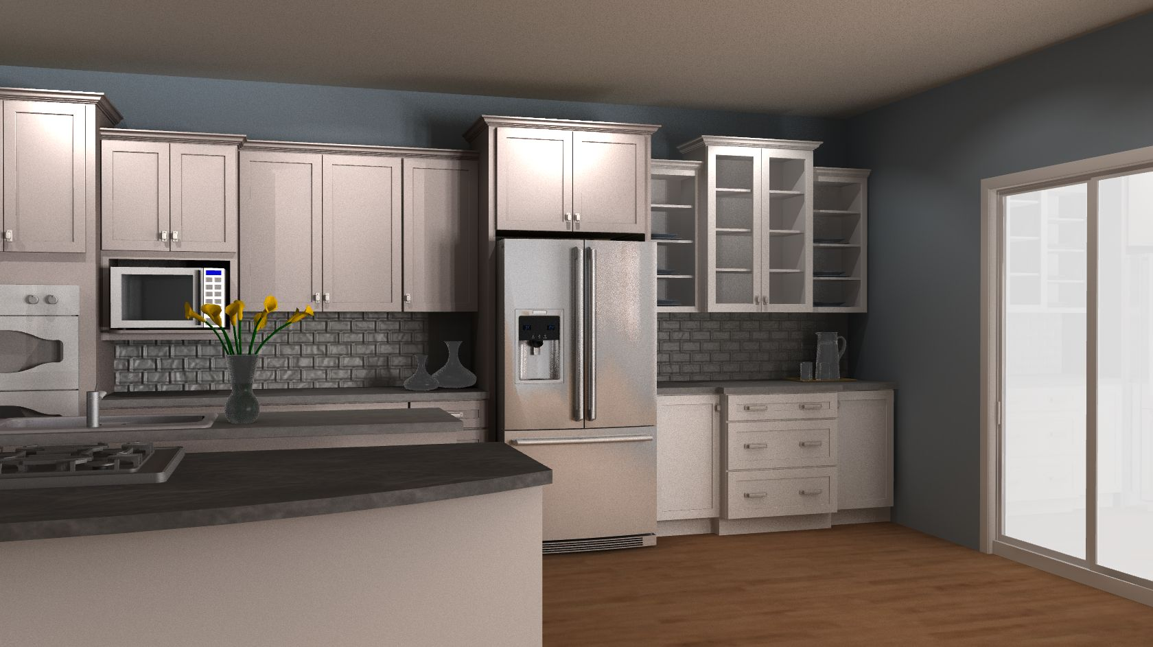 Best Kraftmaid Rendering Pebble Grey And Dove White Accent To 400 x 300