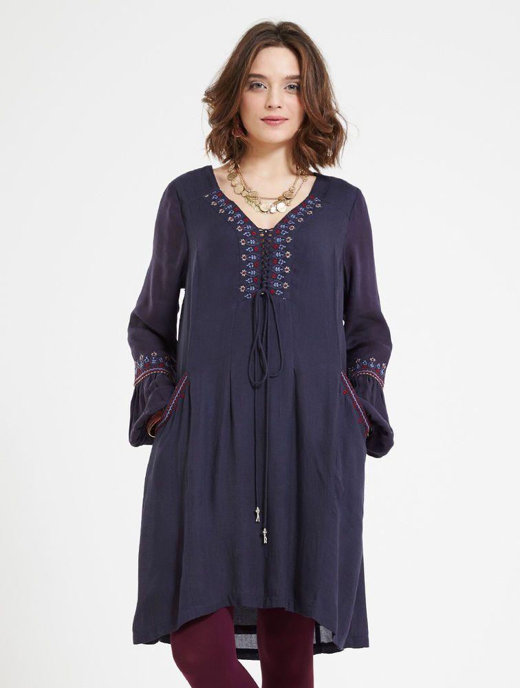 *SALE* NOMADS Plum Boho Long Sleeve Retro Gypsy Dress Tunic Fair Trade CT24