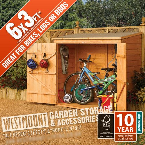 6x3ft 6 x 3 6x3 ft shiplap t small bike shed wooden tool store log storage - Garden Sheds 6 X 3