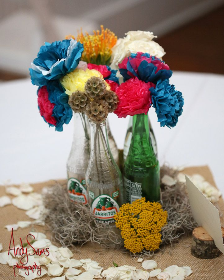 Colorful crepe paper flowers and jarritos bottles centerpieces colorful crepe paper flowers and jarritos bottles centerpieces paper flower centerpieces bottle centerpieces crepe mightylinksfo