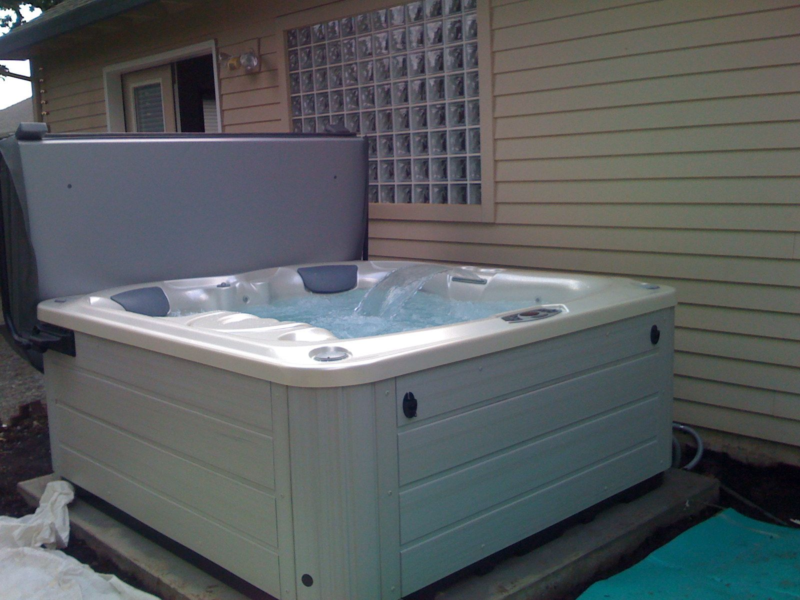 Simple hot tub install - fits perfectly on your deck.   My Home((: I ...