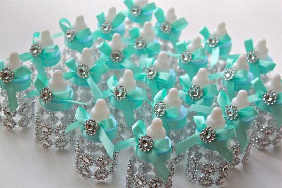 Tiffany co inspired baby bottles baby shower favors for Baby bottles decoration