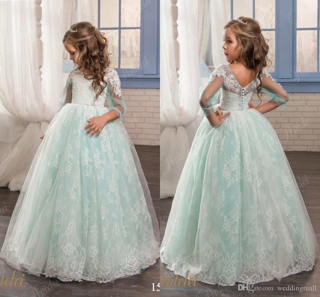 Vintage Princess Floral Lace Arabic 2017 Flower Girl Dresses Beaded ...