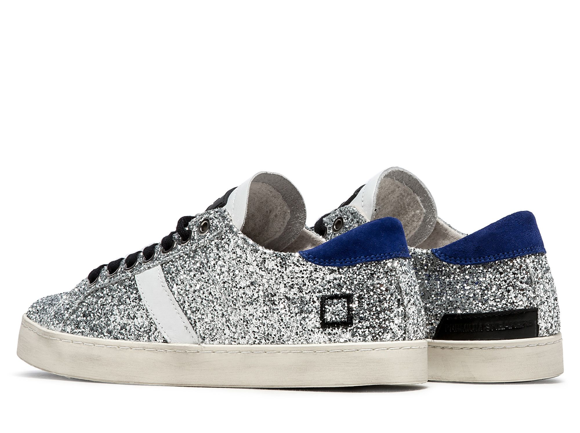 D.A.T.E. Sneakers HILL LOW GLITTER SILVER | Date shoes