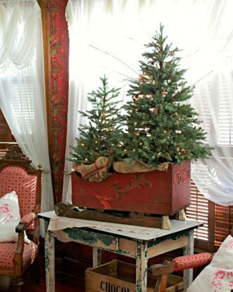 vintage red sleigh with a Christmas tree duo with lights Xmas