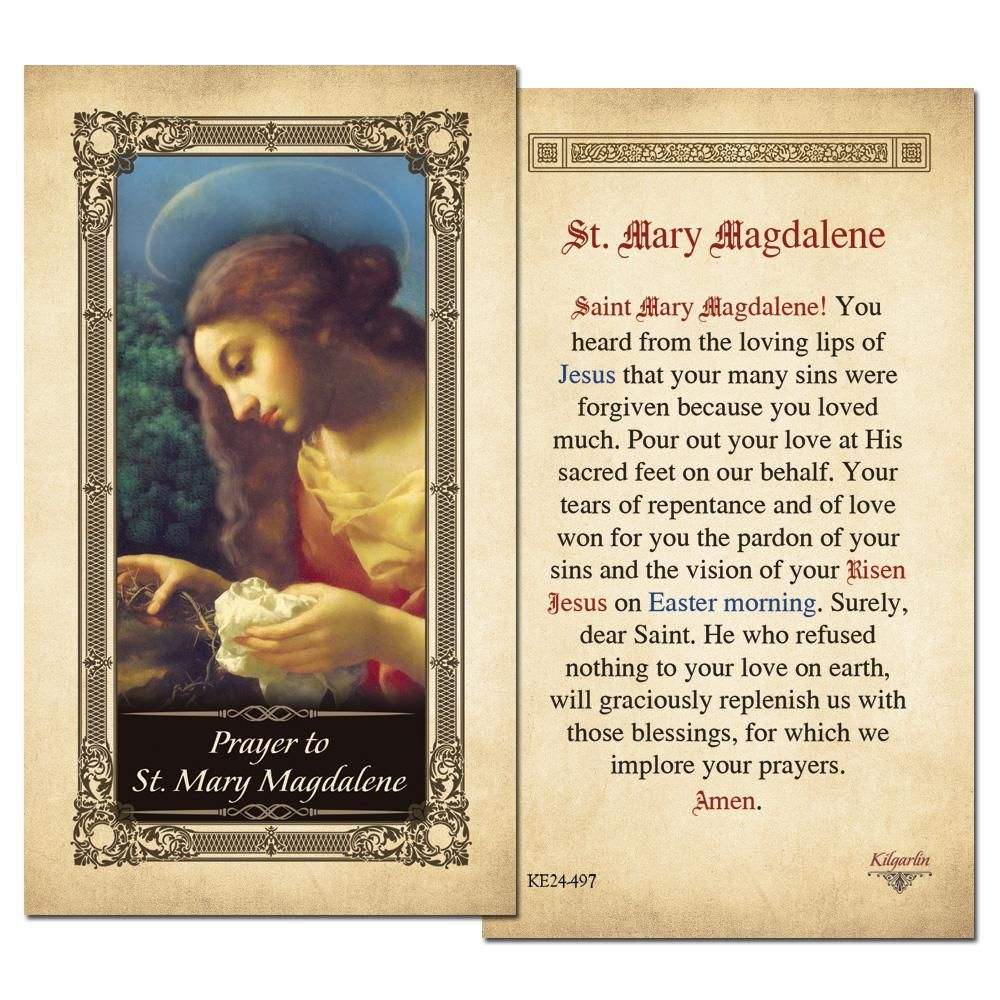 """This Beautifully Laminated St. Mary Magdalene Prayer Cards with Gold Colour Accents has the finest details and highest quality features a classic religious art image on one side and prayer on the other side, very handy to share it with your family and friends at the time of prayers. Gold Colour Accents with Finest Detail Cardstock - 2.5"""" x 4.5 Inch (H) Useful as a Bookmark for your Bible or any other books Perfect Catholic Gift Perfect for Church Service Handout. Available in Pack of 3, 10, 25,"""