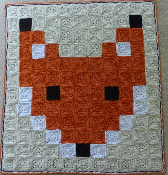 Made To Order Crochet 8 Bit Pixel Art Throw Blanket Mr