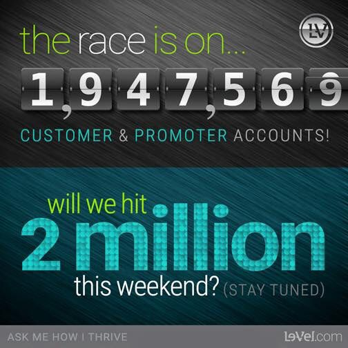 www.getonthrive.le-vel.com WOW!!!!! This is nuts!!! Almost 2 MILLION FREE account sign ups! Help us hit it with more sign ups. I would love your help. PM me with your email or go check out my site and register there. #lvlife #2million #thrive #changinglives