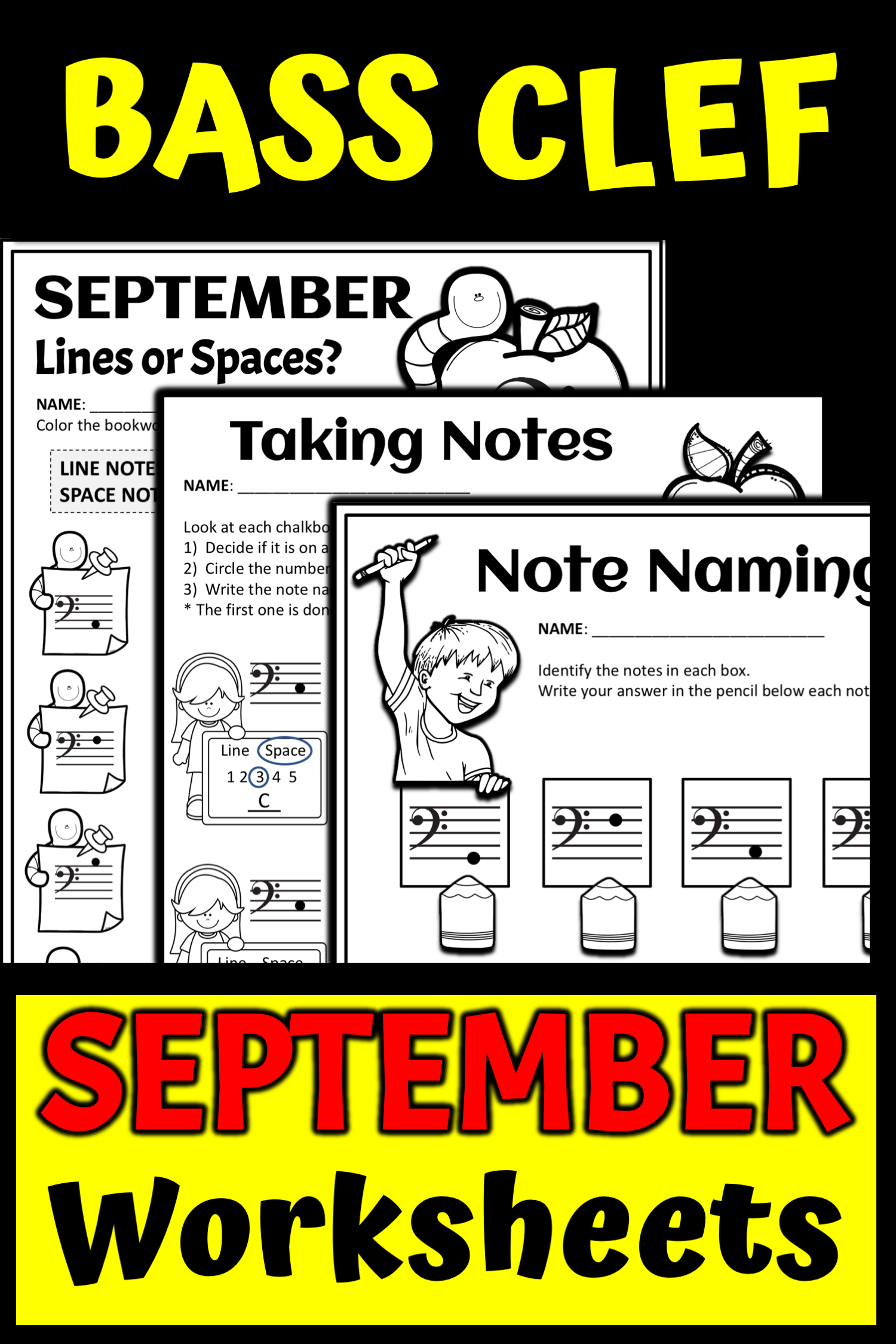September Note Name Worksheets Back To School Music
