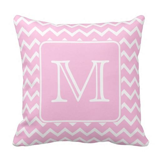12 Perfect And Calming Bedroom Ideas For Women: Pink Zigzags With Custom Monogram. Throw Pillow