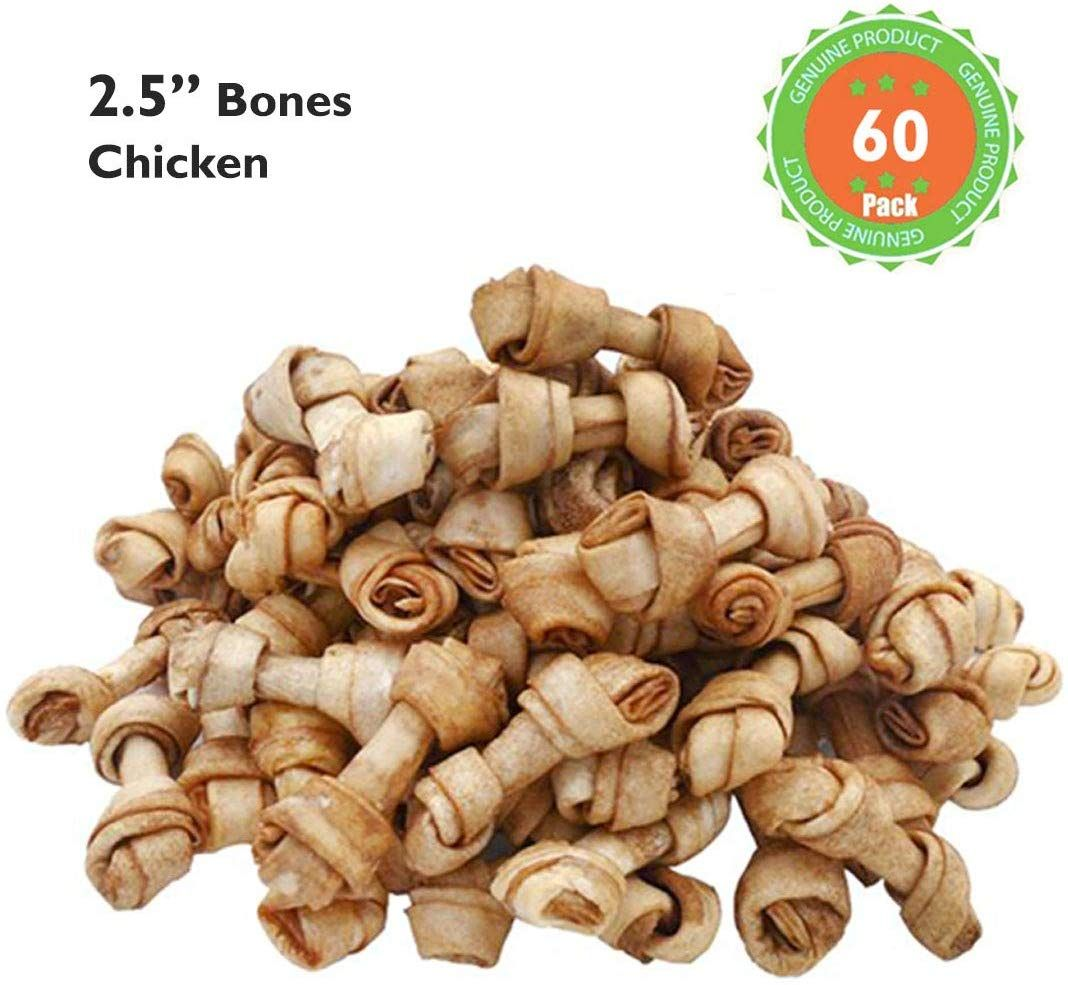 Mon2sun Dog Rawhide Knot Bones 2 5 Inch For Puppy And Small Dogs