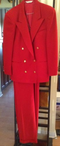 Austin Reed Women S Red Pantsuit London England Size 14 Jacket 16 Pants Red Pantsuit Pantsuit Lady In Red