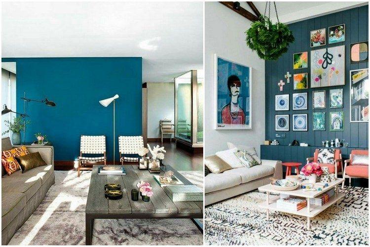 Beautiful Decoration Salon Bleu Canard Photos - Yourmentor.info ...