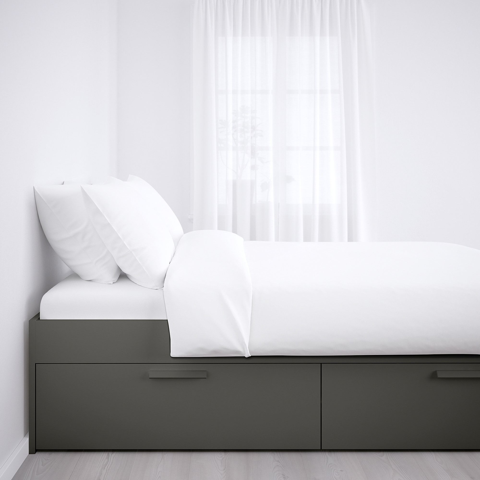 BRIMNES Bed frame with storage gray, Luröy. IKEA® Canada