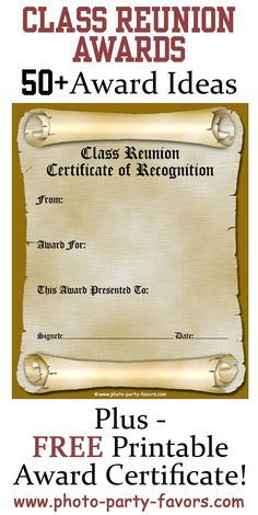 free printable class reunion award certificate with more than 50