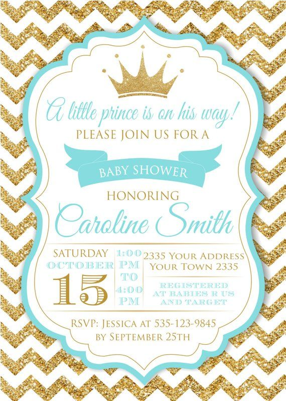 Baby Shower Invitation Blue And Gold Baby Shower Invitation