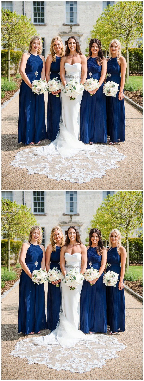 Halter neck midnight blue pleated long bridesmaid dresses ard in