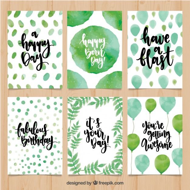 Birthday Card Pack With Abstract Watercolor Shapes And Balloons Watercolor Birthday Cards Birthday Card Drawing Creative Birthday Cards