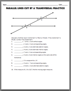 Printables Parallel Lines Cut By A Transversal Worksheet 1000 images about parallel lines and transversals on pinterest activities equation student