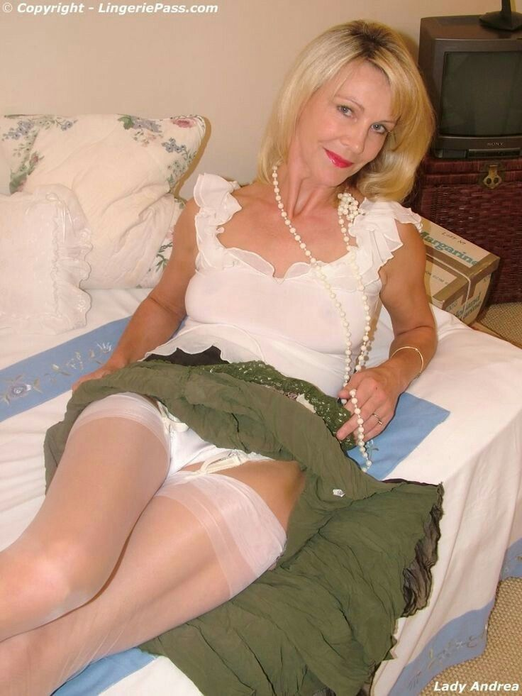 image Granny in fully fashioned nylon stockings fingers and toys