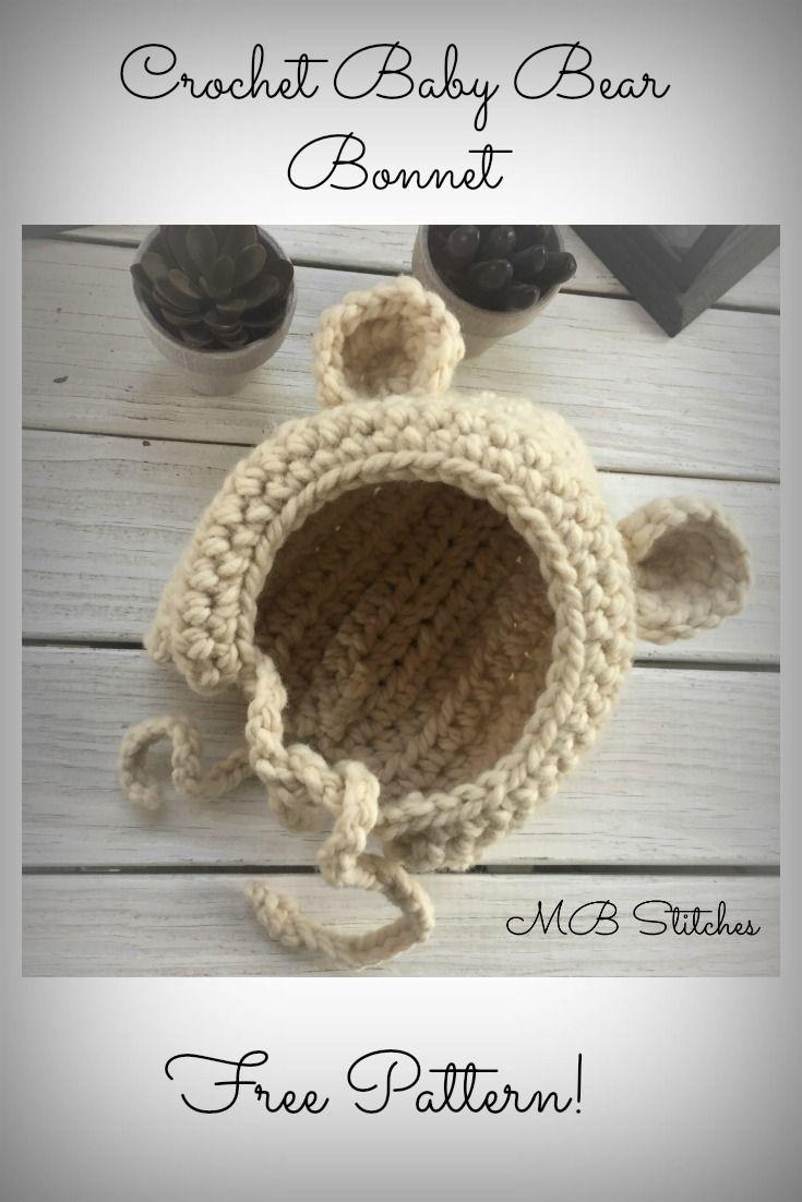 Crochet Baby Bear Bonnet | Mütze, Häkeln und Hüte
