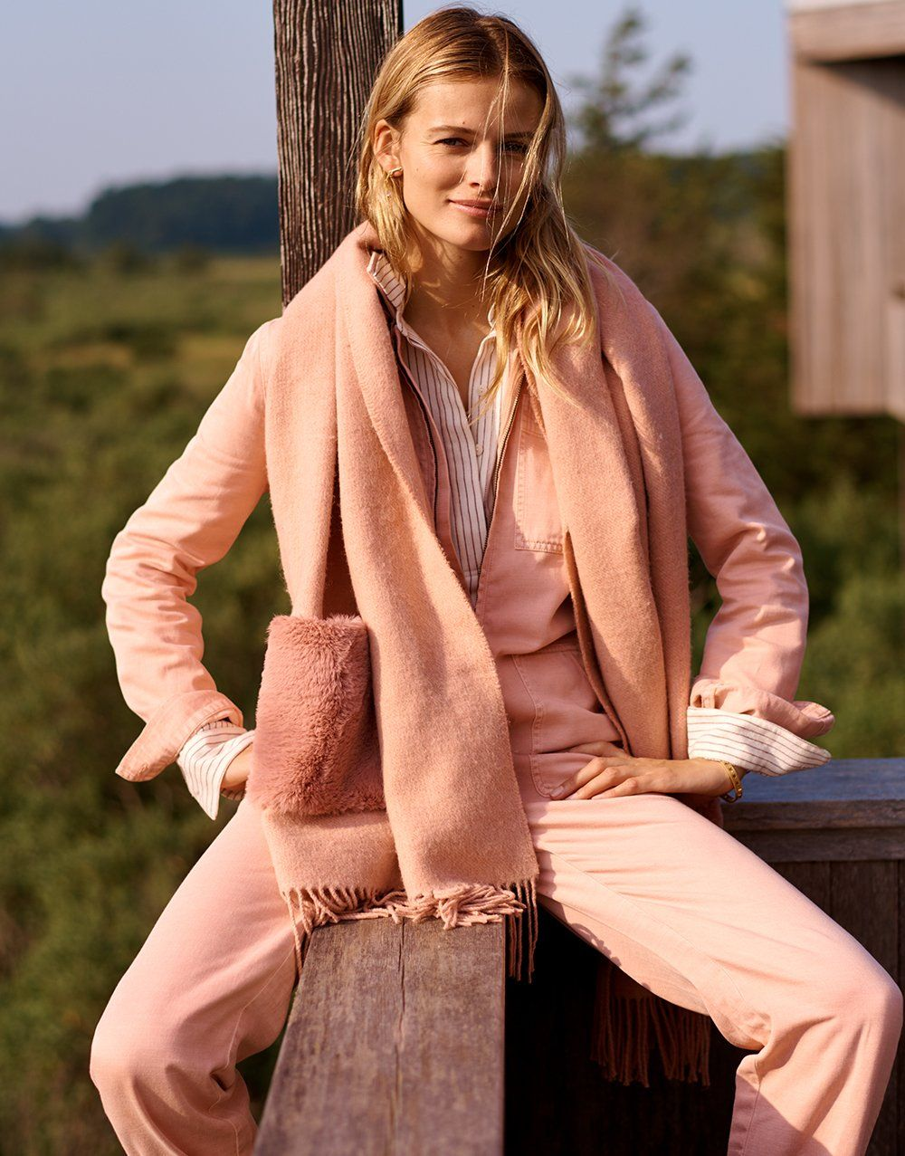 ad207170ce madewell faux-fur pocket cape scarf worn with zip-front coverall jumpsuit +  flannel classic ex-boyfriend button-back shirt.