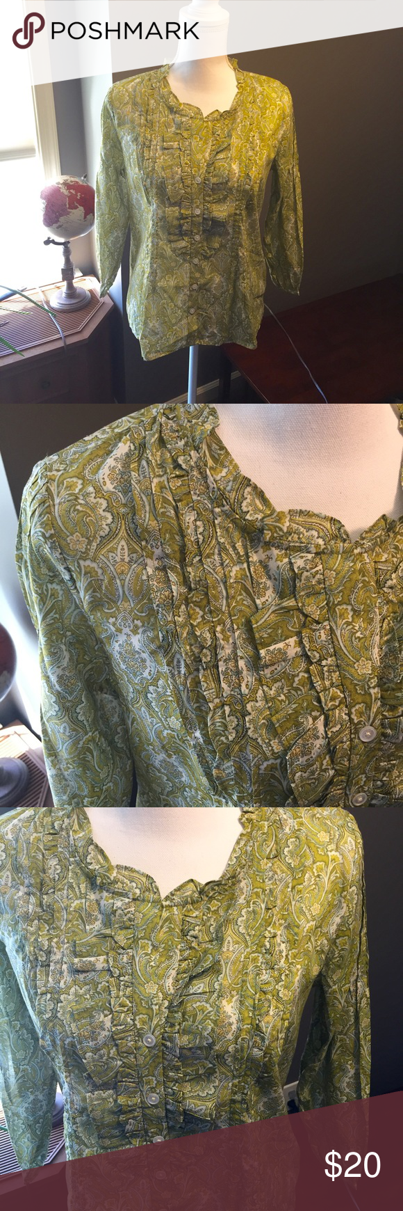 Talbots Green Paisley Ruffled Button Down Shirt 6 Excellent condition! Thank you for looking! Talbots Tops Button Down Shirts