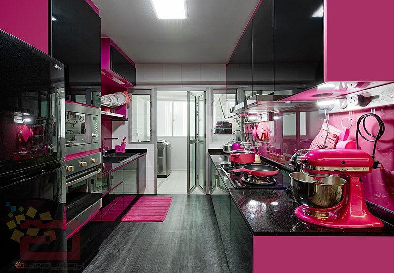HDB BTO Hot Pink Kitchen At Blk 430A Yishun Orchid Spring