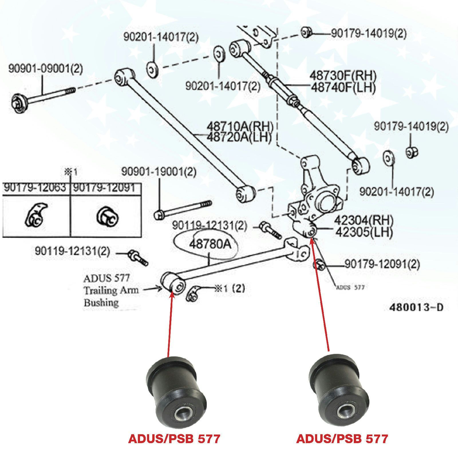 medium resolution of rear carrier trailing arm bushing kit part psb 577 o e 4878033010 fits