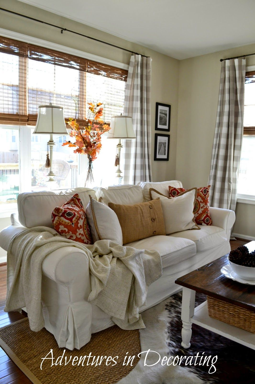 Adventures in Decorating Our New Great Room  neutrals with fall colors work well together