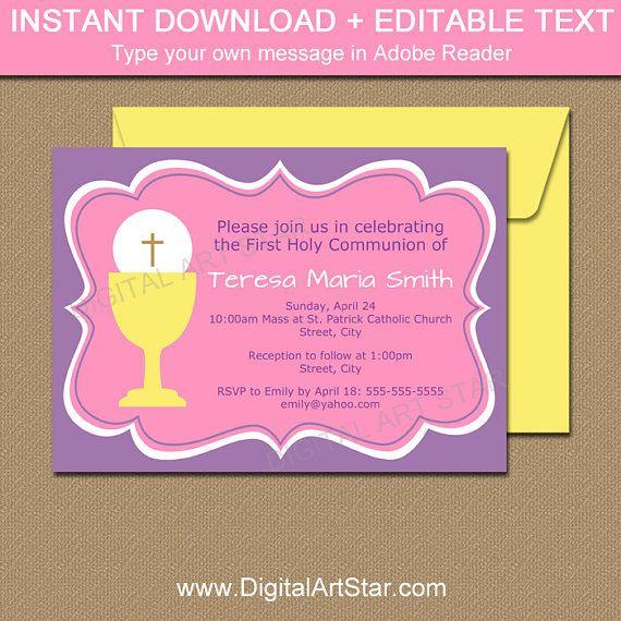 Digital Girl First Communion Invitation Template, First Holy - invitation templates holy communion