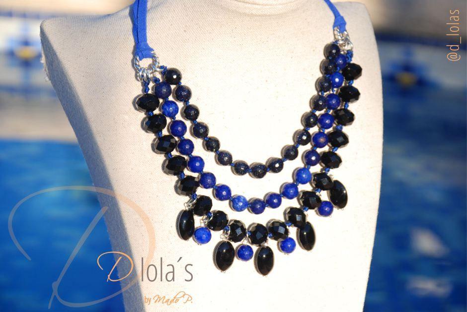 collar azul klein, #zafiros #onix  www.dlolas.com   info@dlolas.com