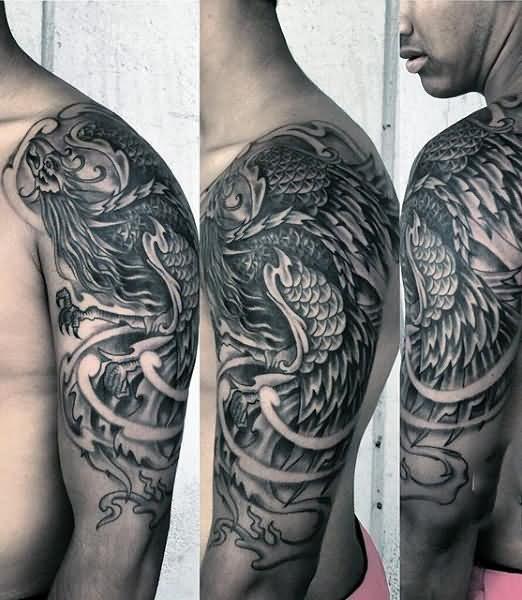 Grey Ink Phoenix Tattoo On Man Left Half Sleeve Tattoos For Guys Phoenix Tattoo Design Tattoo Designs Men