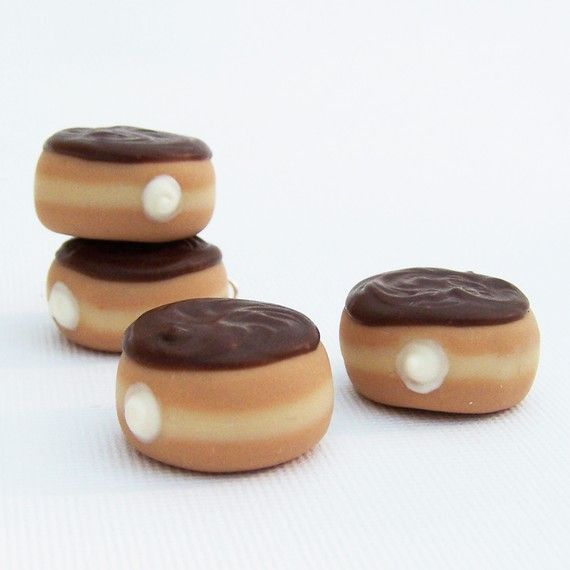 Clearance Chocolate Cream Filled Doughnut Charm by SweetCherryShop, $7.00
