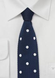 Strick-Krawatte nachtblau Punkte schneeweiß günstig kaufen