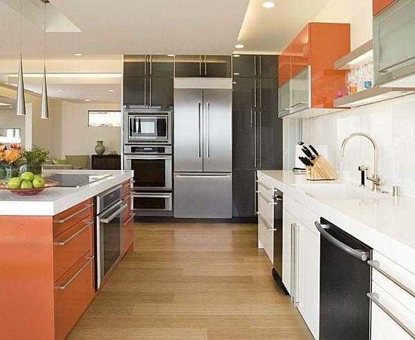 Http Cdn Decoist Wp Content Uploads 2017 10 Slick And Modern Multi Colored Cabinets In Orange White Black Kitchen Jpg Pinterest Kitchens