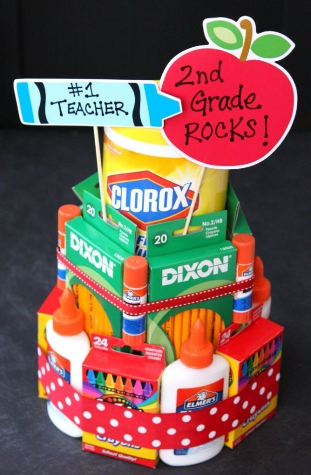 33 Best DIY Teacher Gifts School supplies cake ...