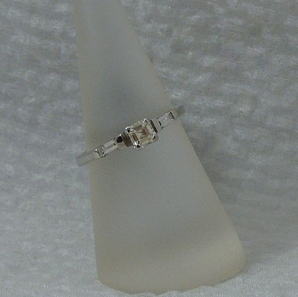 .41 Carat Princess Cut Engagement Ring with Baguette Accents, VS2 Clarity and L Color, set in 18k White Gold. $990