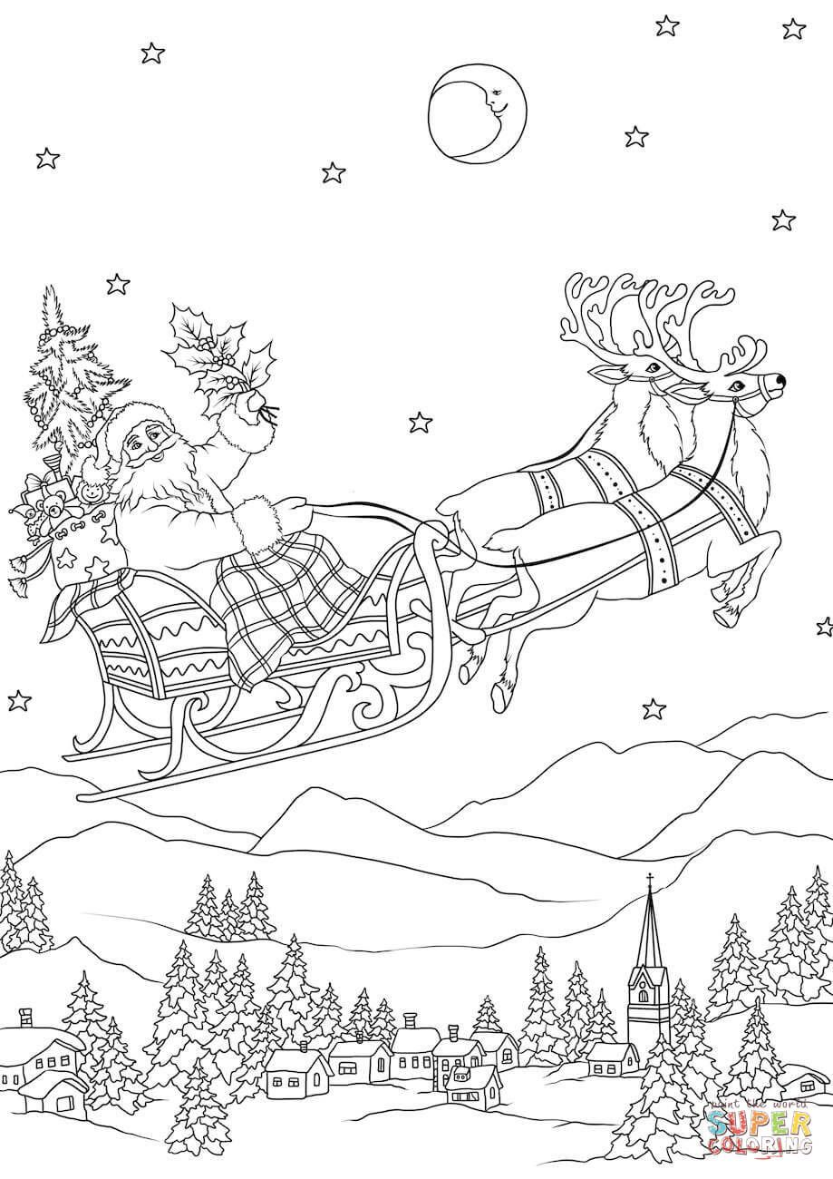 Santa Flying In His Sleigh Pulled By Reindeers At Night Super Coloring Santa Coloring Pages Christmas Coloring Pages Christmas Coloring Sheets