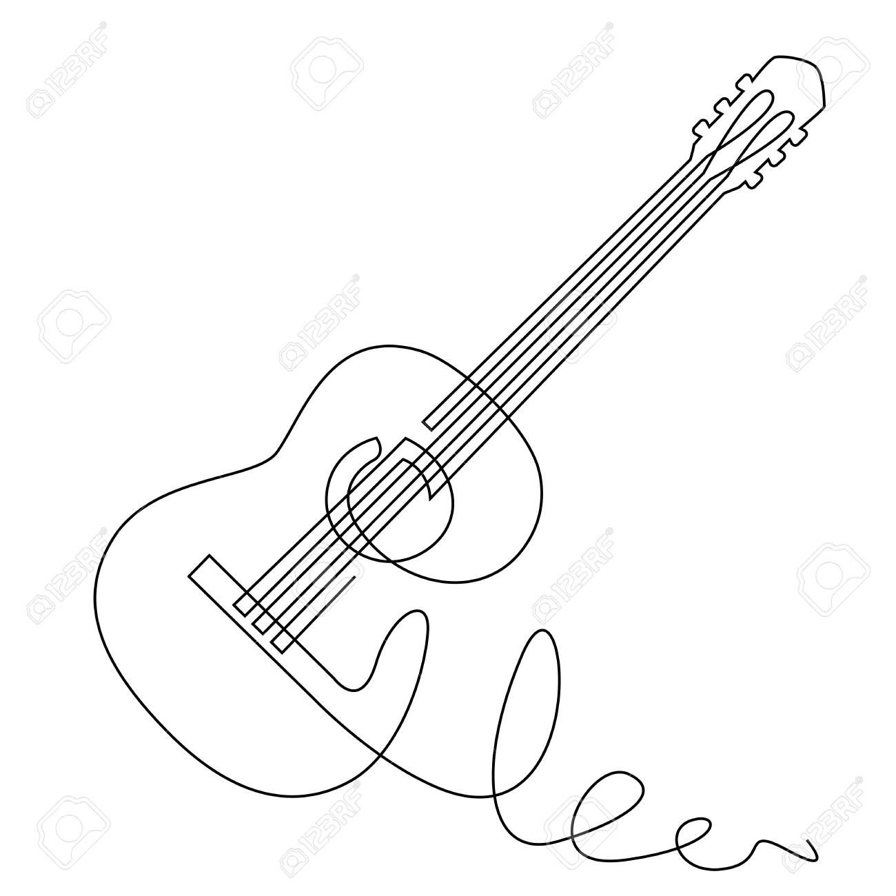 Continuous Line Drawing Of Acoustic Guitar Vector Musical Instrument For Decoration Design Invitation Jazz Fe Line Drawing Line Art Drawings Line Art Vector