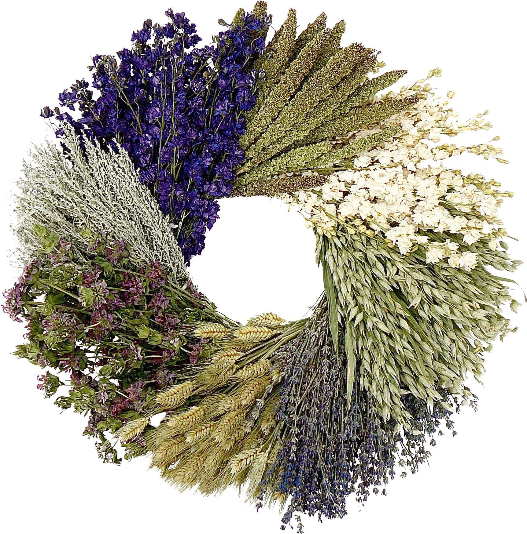 Preserved Lakspur, Millet, Wheat, & Lavender Wreath