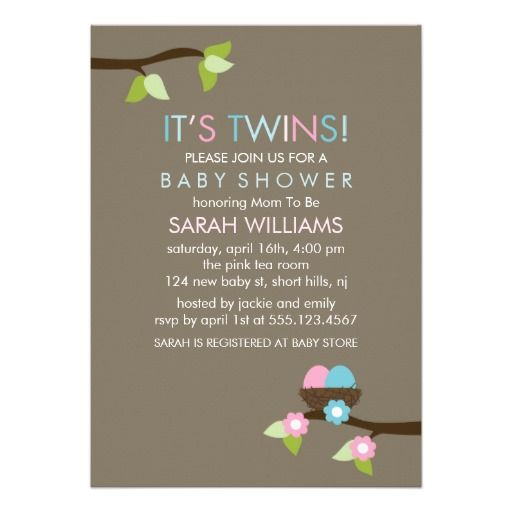 Bird Nest and Blossoms Twins Baby Shower Personalized Invites