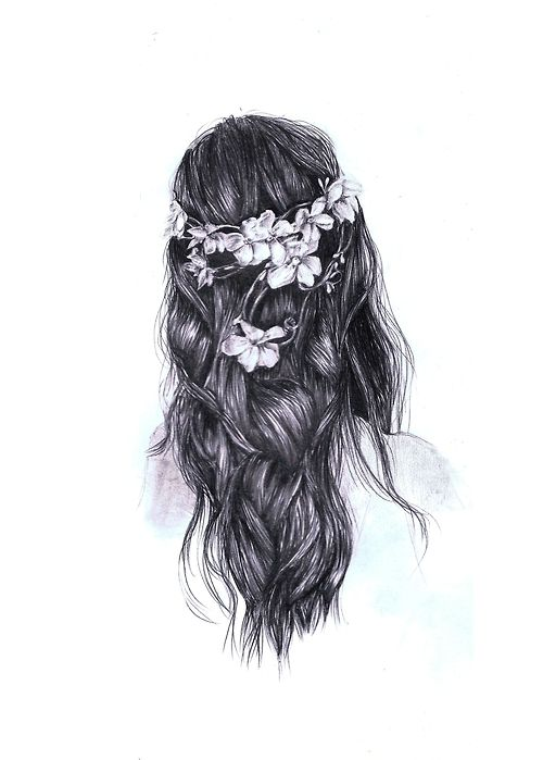 drawing pencil of long girl hair