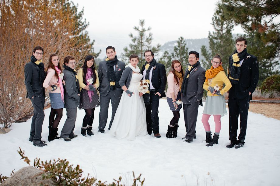 I highly recommend getting married in the snow. Also: being sassy.  Photo by @Emily Scott    kim + will : a tahoe winter wedding - Em the Gem