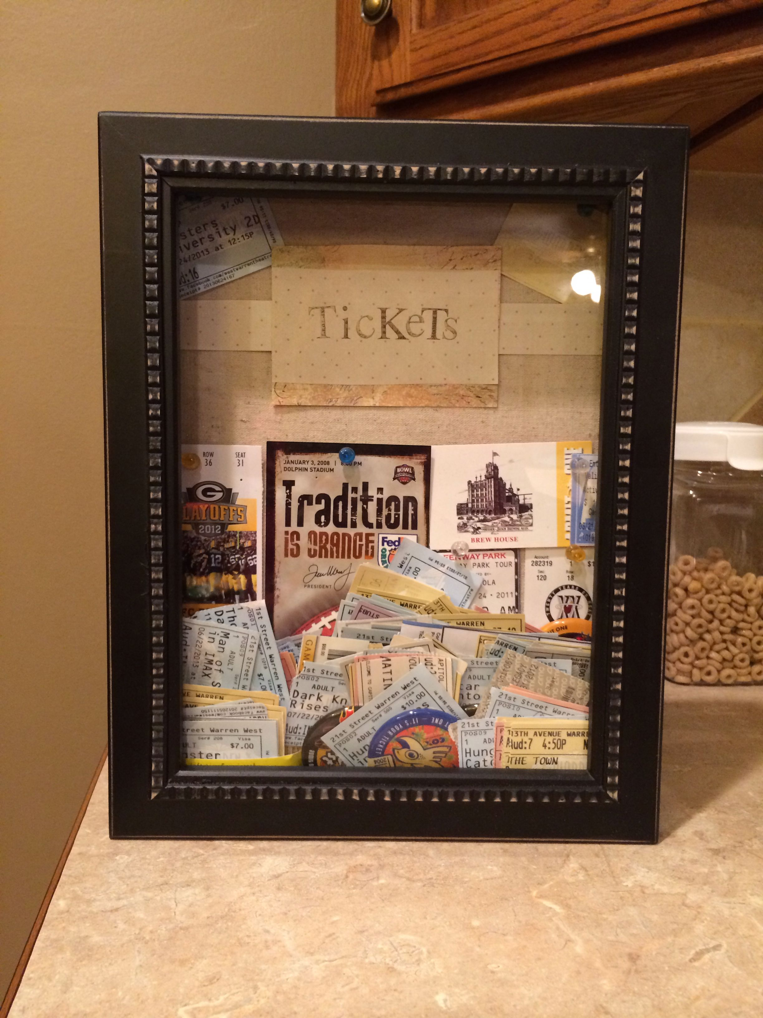Ticket Stub Shadow Box Shadow Box From Hobby Lobby Easy Diy Project Diy Projects For Bedroom Diy Projects Gadgets Diy Projects For Couples
