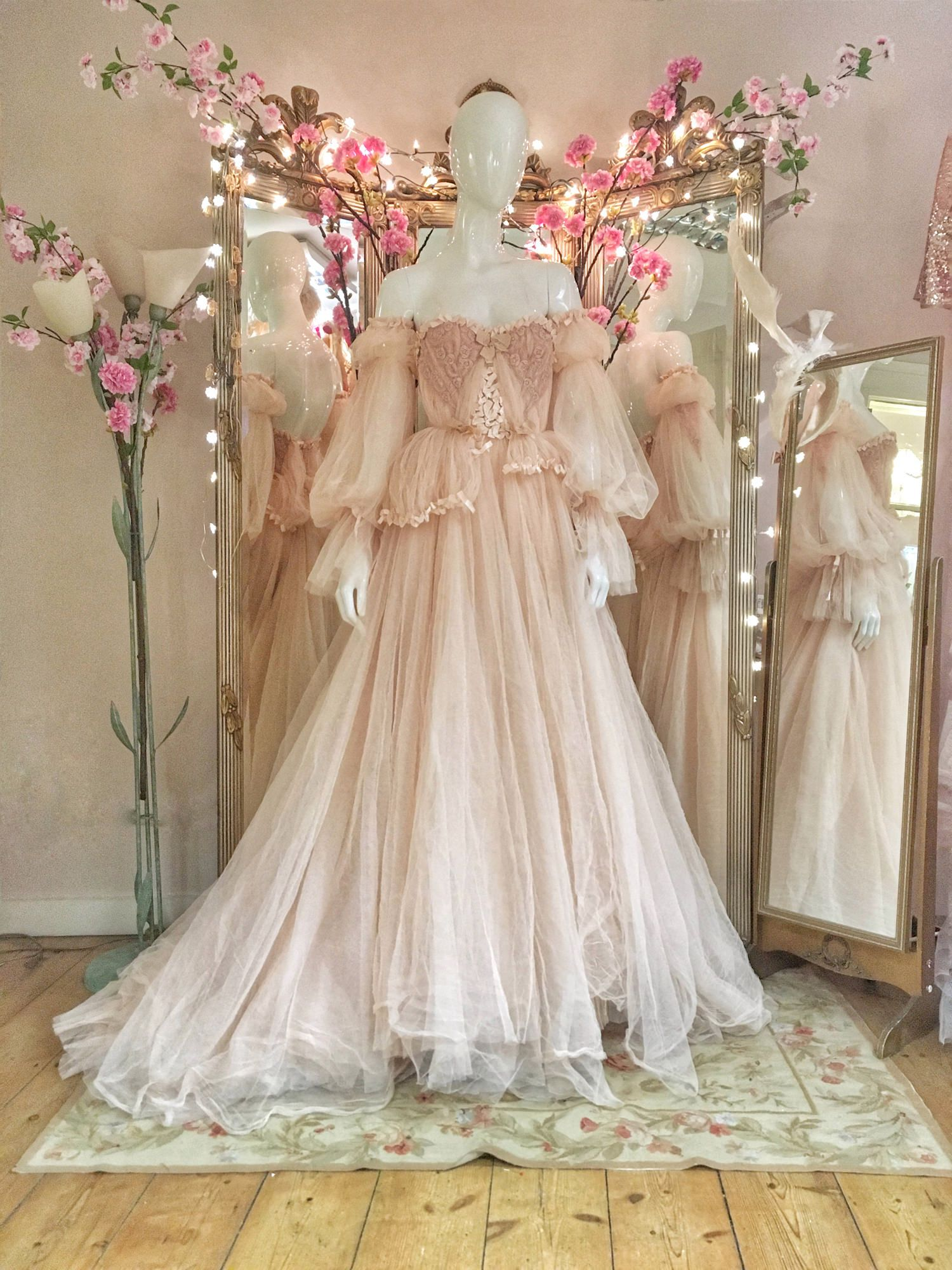 Pink lace wedding dress  Blush Tulle and Lace Wedding Dress with Detachable Sleeves