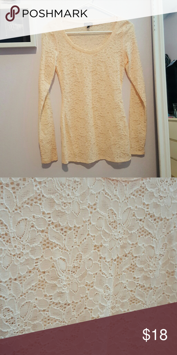 Express floral lace long sleeve A peachy colored long sleeve from Express. It's fitted so it really shows off your curves! A very pretty floral lace design! Barely worn so there's no wear and tear and no stains or anything. Express Tops Blouses